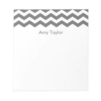 Personalized Charcoal Gray Striped Chevron Notepad