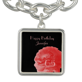 Personalized Charm Bracelet Coral Rose 65th Bday