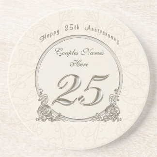 Personalized Cheap Anniversary Gifts 25 years Beverage Coaster