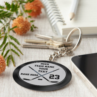 Personalized Cheap Hockey Gifts and Hockey Favors Basic Round Button Key Ring