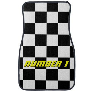 Personalized checkered flag auto racing car mats