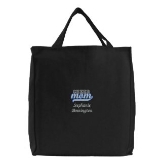 Personalized cheer mom embroidered tote bag