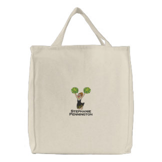 Personalized cheerleader embroidered tote bag