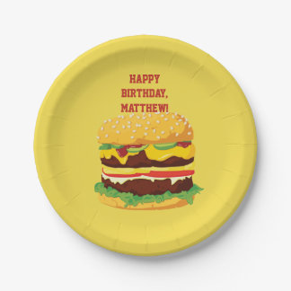 Personalized Cheeseburger Party Paper Plates