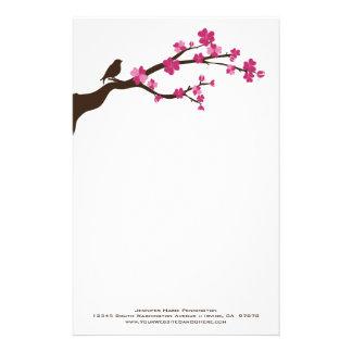 Personalized cherry blossom bird stationery