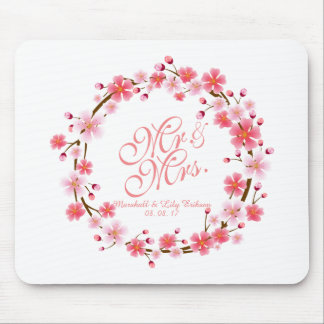 Personalized Cherry Blossom Wreath | Mousepad