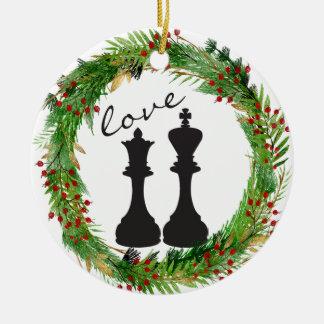 Personalized Chess Black King, Queen Couple Love Ceramic Ornament