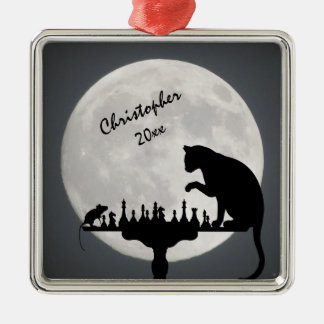 Personalized Chess Full Moon Cat and Mouse Game Metal Ornament