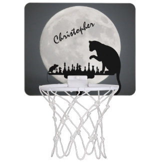 Personalized Chess Full Moon Cat and Mouse Game Mini Basketball Hoop