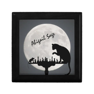 Personalized Chess Full Moon Cat and Mouse Game Small Square Gift Box