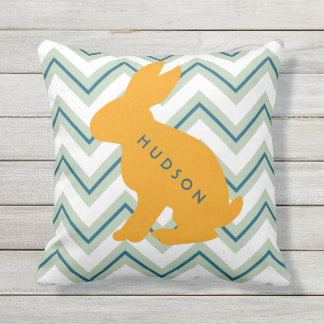 Personalized Chevron Animal Nursery Set of 4 Bunny Outdoor Cushion