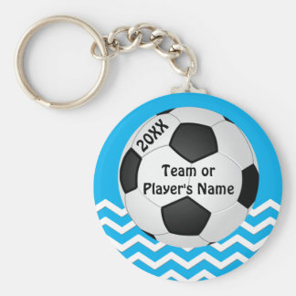 Personalized Chevron Cheap Soccer Gifts for Girls Basic Round Button Key Ring