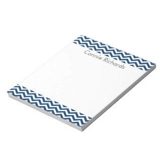 Personalized Chevron Notepad - navy