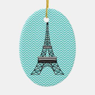 Personalized Chevron Paris Eiffel Tower Ornament