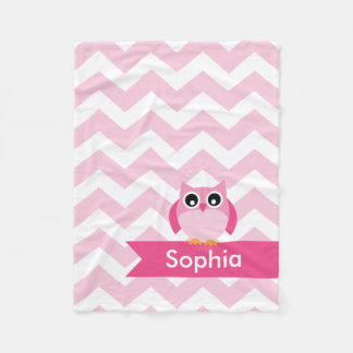 Personalized Chevron Pink Owl Fleece Blanket