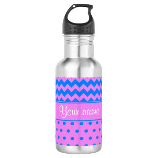 Personalized Chevrons Polka Dots Violet Azure 532 Ml Water Bottle