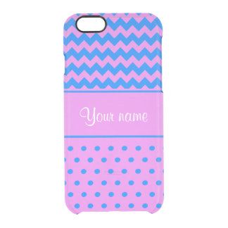 Personalized Chevrons Polka Dots Violet Azure Clear iPhone 6/6S Case