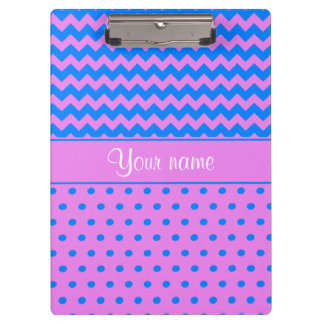 Personalized Chevrons Polka Dots Violet Azure Clipboard