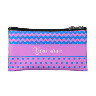 Personalized Chevrons Polka Dots Violet Azure Cosmetic Bag