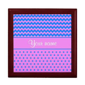Personalized Chevrons Polka Dots Violet Azure Gift Box