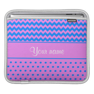 Personalized Chevrons Polka Dots Violet Azure iPad Sleeve