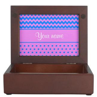 Personalized Chevrons Polka Dots Violet Azure Keepsake Box