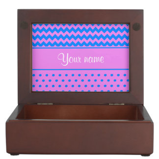 Personalized Chevrons Polka Dots Violet Azure Keepsake Boxes