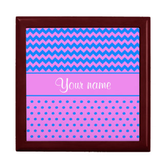 Personalized Chevrons Polka Dots Violet Azure Large Square Gift Box