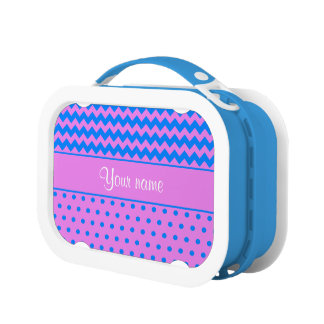 Personalized Chevrons Polka Dots Violet Azure Lunch Boxes