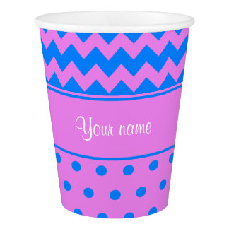 Personalized Chevrons Polka Dots Violet Azure Paper Cup