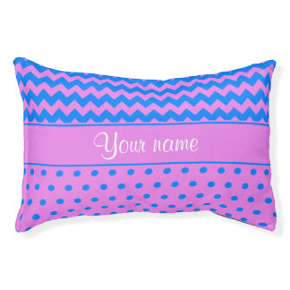 Personalized Chevrons Polka Dots Violet Azure Pet Bed