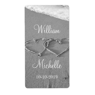 Personalized chic beach wedding wine bottle labels