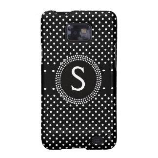 Personalized Chic Black White Polkadots Monogram Galaxy SII Covers