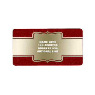 Personalized Chic Gold and Red Glitter Effect Label