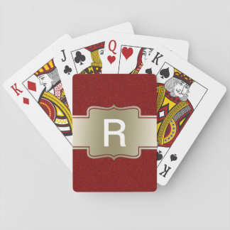 Personalized Chic Gold and Red Glitter Effect Playing Cards