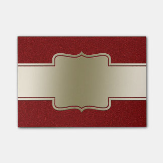 Personalized Chic Gold and Red Glitter Effect Sticky Notes