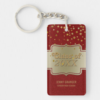 Personalized Chic Gold Red Glitter | Graduation Key Ring