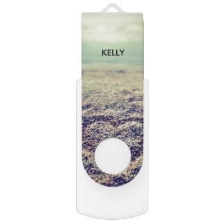 Personalized chic summer beach ocean seaside photo swivel USB 2.0 flash drive