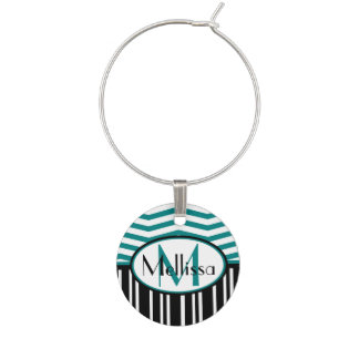 Personalized Chic teal and black  chevron stripes Wine Charm
