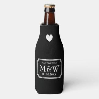 Personalized chic wedding monogram bottle coolers
