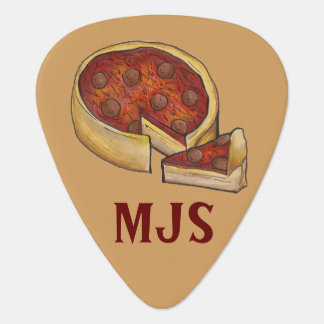 Personalized Chicago Deep Dish Pepperoni Pizza Plectrum