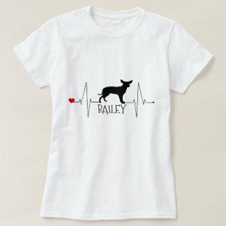 Personalized Chihuahua Love My Dog Heart Beat T-Shirt