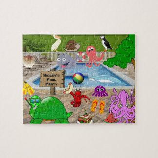 Personalized Child's Silly Pool Party Jigsaw Puzzle