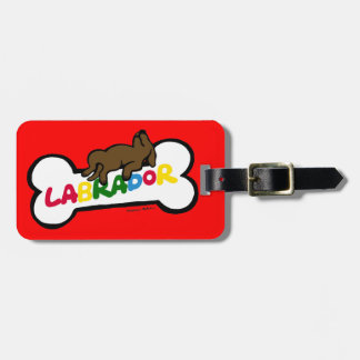 Personalized Chocolate Labrador with a full belly Luggage Tag