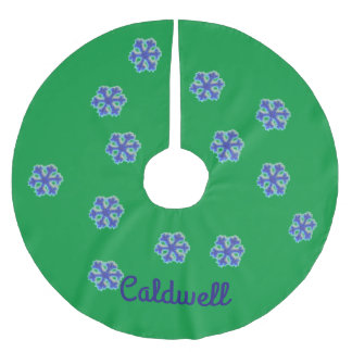 Personalized Choose Background Blue Bead Snowflake Brushed Polyester Tree Skirt