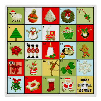 personalized Christmas Advent calendar Poster