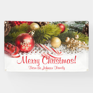 Personalized Christmas Banner Candy Cane Ornaments