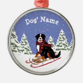 Personalized Christmas Bernese Mt Dog Sledding Metal Ornament