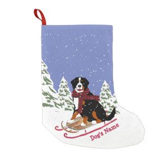 Personalized Christmas Bernese Mt Dog Sledding Small Christmas Stocking
