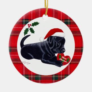 Personalized Christmas Black Lab Puppy Ceramic Ornament